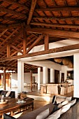 Beamed interior of beach house retreat in the Indian state of Goa