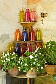 Coloured glass bottles and potted plants