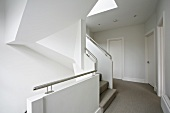 Modern architecture - white stair case and hallway