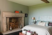 Bedroom in home of fabric designer Richard Smith in East Sussex