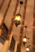 Wooden bead curtain with oriental lanterns