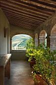 Überdachte Veranda mit Rundbogen-Ausschnitten und Blick auf die Landschaft