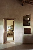 View into guest room from Mediterranean anteroom