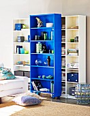 Shelving units with blue element on castors and cushions on floor in front of partially visible sofa