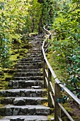 Traditional stone stairs on a slope with a wooden hand railing on one side in a Japanese garden in Portland