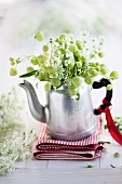 Bouquet made bladder campion (silene vulgaris)