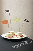 Washi tape flags in little cakes