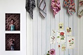 Collection of patterned cloths above small pictures of roses and next to two pictures of a little girl