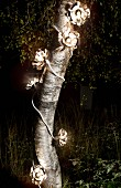 Flower-shaped fairy lights wrapped around tree trunk and glowing in night forest