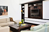 Retro-style, living room wall unit, upholstered furniture and coffee table