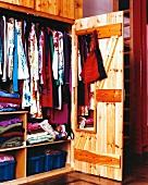 A wardrobe made from natural wood