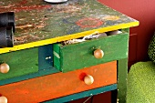 Colourful, shabby chic chest of drawers