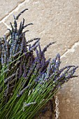 Freshly picked lavender in basket on stone floor