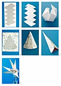 Craft instructions for making a star out of cardboard and patterned paper as a modern Christmas decoration