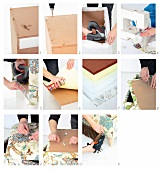 Construction and upholstery instructions for making a romantic bedroom ottoman with storage space