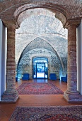 Hotel lobby with antique, Romanesque vaulting