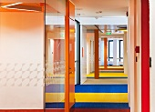 Colourful corridor in modern school