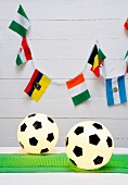 Football lanterns (spherical white lamps with hexagons of black film)