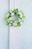 Wreath of hydrangeas and lady's mantle