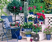 Blue and white balcony
