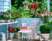 Pale blue balcony with red accents
