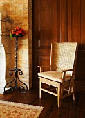 Wooden Chair with a Cushion on Wood Floors; Area Rug