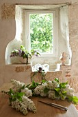 Flower arrangement in window niche in Chateau Maignaut (Pyrenees, France)