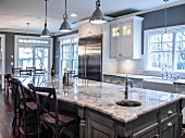Large Kitchen Island with Grey Marble Top