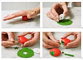 Tomatoes being made from modelling clay