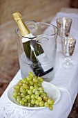 Bottle of champagne in cooler and dish of grapes on tablecloth on bench