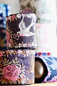Ribbons with carrier pigeon and roses motif in various colour schemes