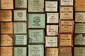 Assorted boxes with labels from various theatre performances