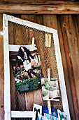 Old rabbit hutch door used as pinboard for collection of pictures