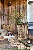 Young birch twigs in wicker basket on rope rug and printed cushions on animal skin rug