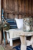 Fishing-net-style accessories and rug in Norwegian herringbone pattern