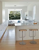 View in a white kitchen