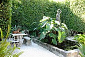 Small courtyard with lush greenery, pond, statue of woman and collection of antique-style garden furniture
