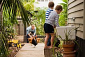 Two boys on stool in front of sink and chickens in kitchen garden of residential house