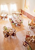 View from gallery into spacious breakfast room of hotel