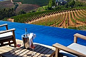 Blue infinity pool with view of managed vineyards