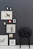 Black, mesh-like plastic chair against black wall next to framed pictures of animals