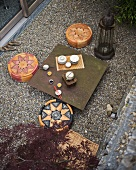 Tea ceremony in contemporary courtyard