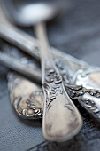 Antique silver cutlery (close-up)