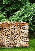 Stack of firewood in garden