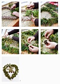 A wreath being made from evergreen, mistletoe, ivy and pine cones