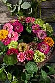 Wreath of zinnias