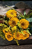 Later summer bouquet with yellow zinnias