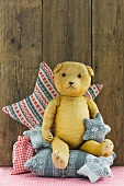 Teddy bear, scatter cushions and fabric Christmas tree decorations