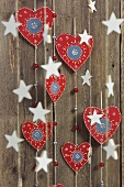 Christmas decorations; strings of hearts and stars