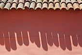 Adobe wall and tile roof at Mission La Purisima State Historic Park, Lompoc, California